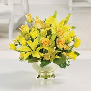 Golden Glow Funeral Table Flowers