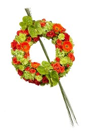 Wreath of Vibrant Oranges and Greens
