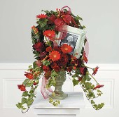 Crimson Wreath w/ Ceramic Urn and Framed Picture