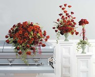 Loving Rose Casket Spray, Vase, and Topiary