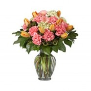 Carnations and Tulips in a Glass Urn