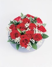 Dozen Red Roses in Rose Bowl