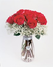 Dozen Roses with Baby's Breath Vase and Heart