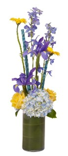 Pretty Assorted Blues and Yellows in a Cylinder Vase