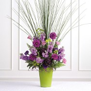 Vibrant Purples and Hot Greens Vase Arrangement