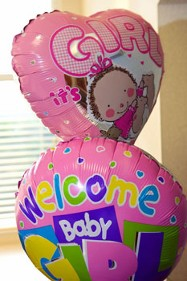 Welcome Baby Girl Balloon Bouquet