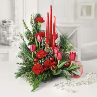 Asymetrical Holiday Centerpiece w/ Taper Candles