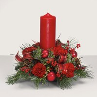 Round Holiday Centerpiece w/ Red Pillar Candle