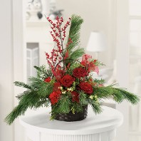 Scented Pine Basket w/ Roses and Carnations