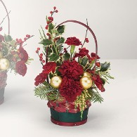 Red and Green Basket Filled w/ Holly, Pine, Ornaments, and Carnations