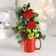 Holiday Mug with Pine, Holiday Accents, and Ornaments