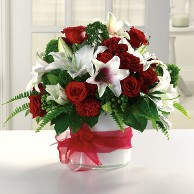 White Lilies and Red Roses in a Geometric Vase
