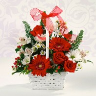 Seasonal Winter/Holiday Basket w/ Roses and Gerbera Daisies