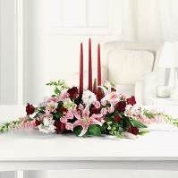 Long and Low Centerpiece in Pink and Red w/ Candles