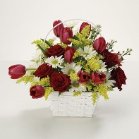 Lovely Cut Flowers in a White Basket