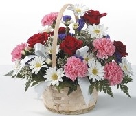 Valentine's Day Basket of Roses, Mums, and Daisies